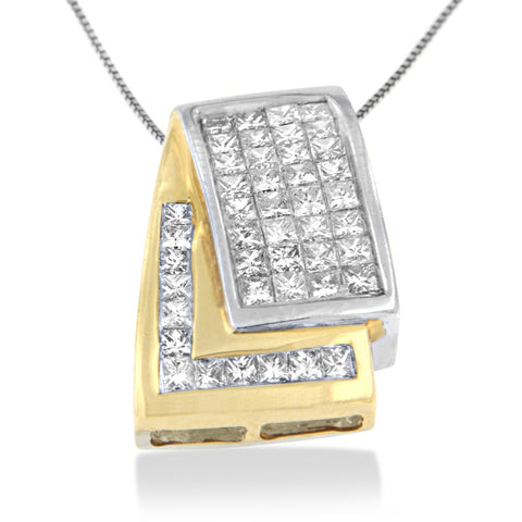 14k Two-Toned Gold 1 CTTW Princess Cut Diamond Overlappings Band Pendant Necklace (H-I, SI2-I1)