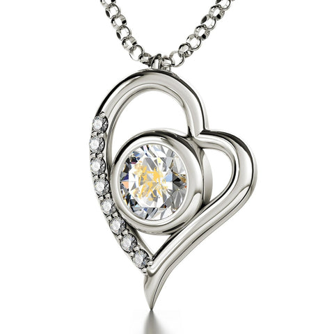Gemini Sign, 14k White Gold Diamonds Necklace, Swarovski