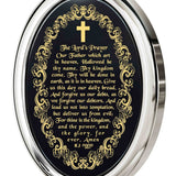 """The Lord's Prayer"" KJ Version, 14k White Gold Necklace, Onyx"