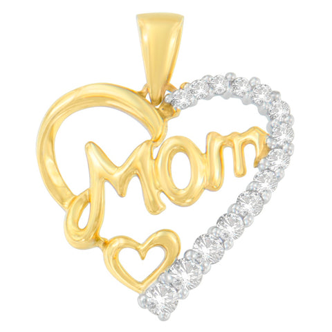 10k Yellow Gold 0.25 CTTW Round Cut Diamond Mom Engraved Heart Pendant Necklace (H-I, I1-I2)