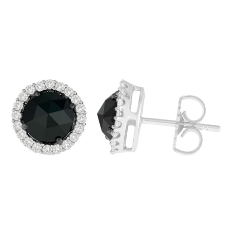 14K White Gold 2 3/4 CTTW Round and Rose-Cut Black Diamond Stud Earrings (H-I, I2-I3)