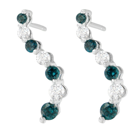 14K White Gold 1ct. TDW Round-cut Diamond Treated Blue Earrings (H-I,I1-I2)