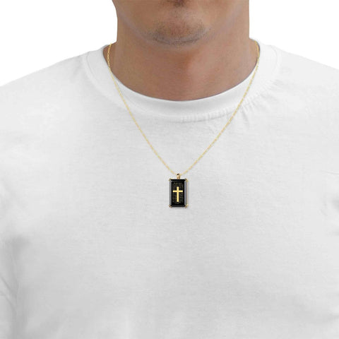 """The Lord's Prayer"" KJ Version, 24k Gold Plated Necklace, Onyx"