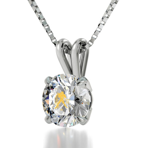 Aquarius Sign, 14k White Gold Necklace, Swarovski