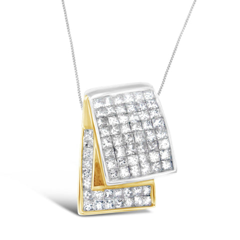 14K Two-Tone Gold 2 CTTW Princess Cut Overlapping Diamond Band Pendant Necklace (H-I, SI2-I1)