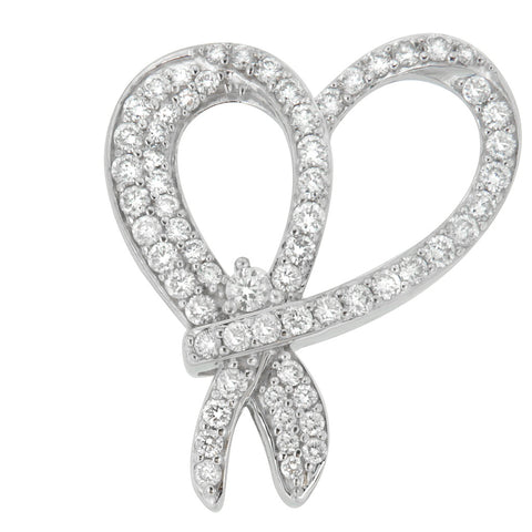 10k White Gold 1 CTTW Round Cut Diamond Heart and Bow Pendant Necklace (G-H, SI1-SI2)