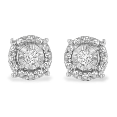 Sterling Silver 0.15ct TDW Round Cut Diamond Round Stud Earrings (H-I,I2)
