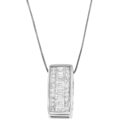 14K White Gold 1/2 ct. TDW Princess and Baguette-cut Diamond (H-I,SI1-SI2)