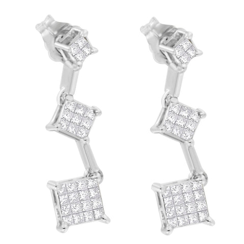 14K White Gold 1/2ct. TDW Princess-cut Diamond Earrings (H-I,SI1-SI2)