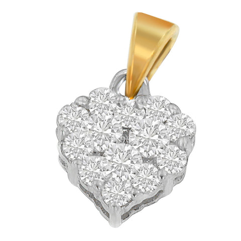 14K Yellow 1/2 CTTW Round Cut Diamond Heart Halo Pendant Necklace (H-I,I1-I2)