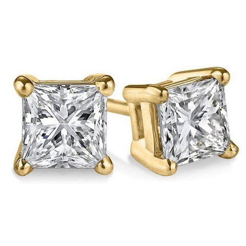 14k Yellow Gold 1/5ct TDW Certified Princess-cut Diamond Stud Earrings (I-J, I1-I2)