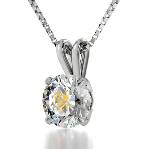 Gemini Sign, 14k White Gold Necklace, Swarovski