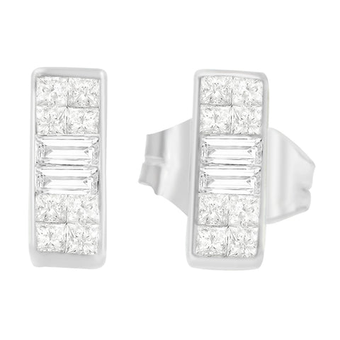 18K White Gold 1/4ct. TDW Baguette and Princess-cut Diamond Earrings (G-H,VS1-VS2)