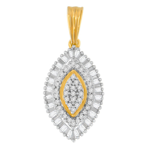 10k Yellow Gold 0.5 CTTW Round and Baguette Cut Diamond Eye Shaped Pendant Necklace (I-J, I2-I3)
