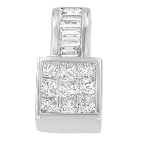 14K White Gold 1 1/2 CTTW Princess and Baguette Cut Diamond Square Halo Pendant Necklace (H-I,SI1-SI2)
