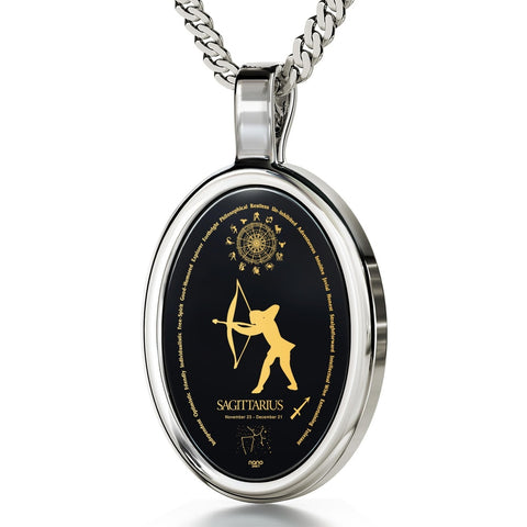 The World of Sagittarius, 14k White Gold Necklace, Onyx