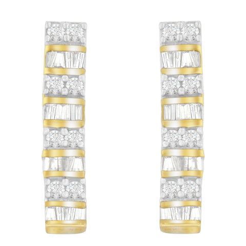 14K Yellow Gold 1.3ct TDW Round and Baguette-cut Diamond Earrings (H-I,I1-I2)