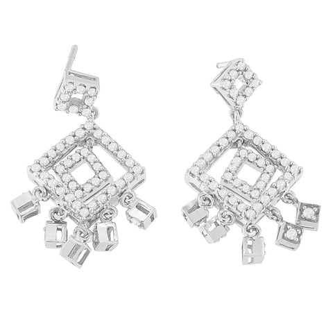 18K White Gold 1ct. TDW Round-cut Diamond Earrings (H-I,I1-I2)