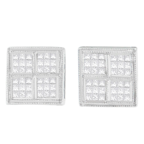 14k White Gold 1/2ct. TDW Princess Diamond Stud Earrings (H-I, SI1-SI2)