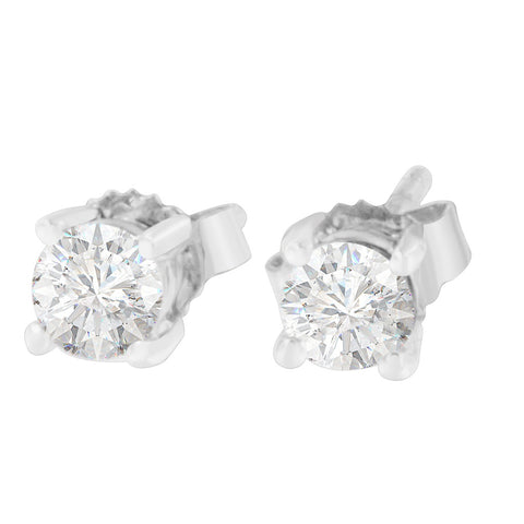 14K White Gold 1/2ct. TDW Round-cut Diamond Earrings(H-I,SI2-I1)