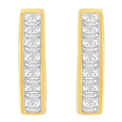 14K Yellow Gold 3/4ct. TDW Baguette and Princess-cut Diamond Earrings (H-I,SI1-SI2)