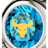 Taurus Sign, 925 Sterling Silver Necklace, Swarovski