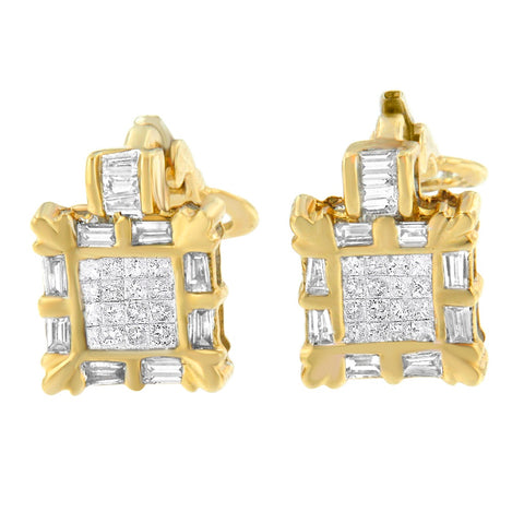 14k Yellow Gold 7/8ct TDW Princess and Baguette Diamond Earrings (H-I, SI1-SI2)