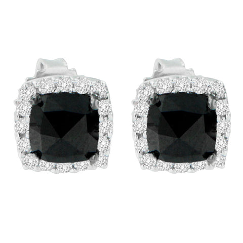 14K White Gold 2 CTTW Round and Rose-Cut Black Diamond Stud Earrings (H-I, I2-I3)