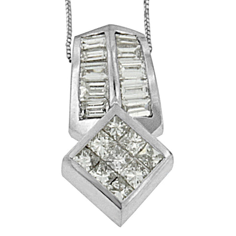 14k White Gold Princess and Baguette-cut Diamond Necklace