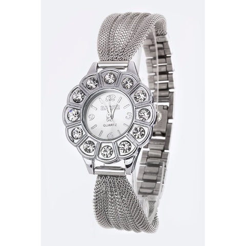 Silver & Clear Mesh Crystal Watch