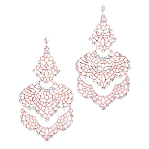 Rose Gold Filigree Crystal Chandelier Earrings