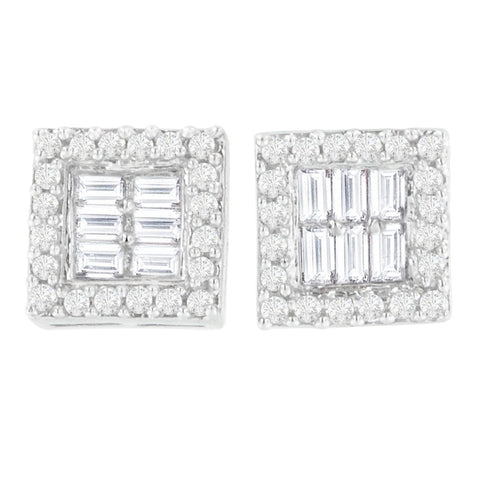 14k White Gold 1ct TDW Round and Baguette Diamond Stud Earrings(H-I,SI1-SI2)