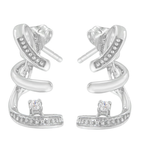 10K White Gold 0.05 CTTW Round Cut Diamond Earrings (H-I, I1-I2)