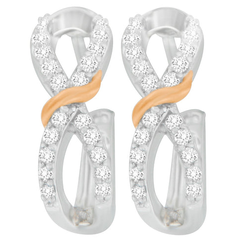 10K Two Toned Gold 0.3 CTTW Round Cut Diamond Earrings (H-I, I1-I2)