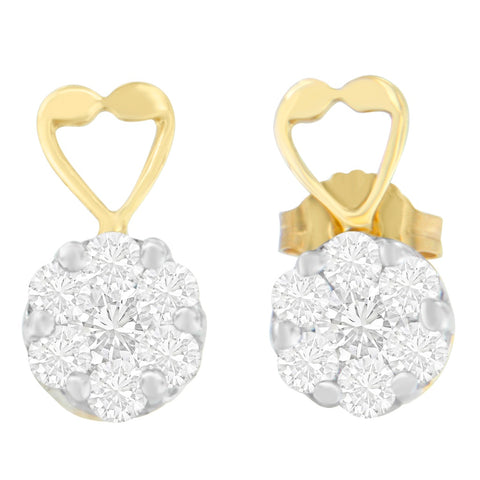 14K Yellow Gold 1ct. TDW Round-cut Diamond Earrings (I-J,SI2-I1)