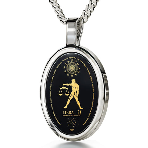 The World of Libra, 14k White Gold Necklace, Onyx