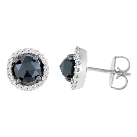 14K White Gold 2 1/2 CTTW Round and Rose-Cut Black Diamond Stud Earrings (H-I, I2-I3)