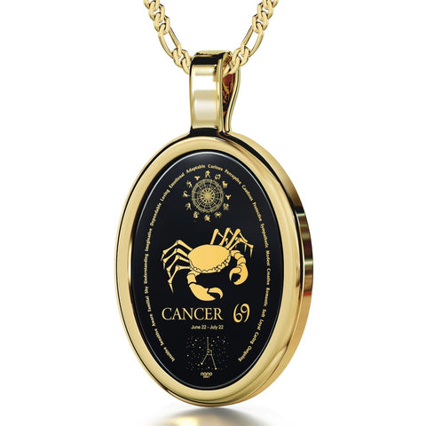 The World of Cancer, 24k Gold Plated Necklace, Onyx