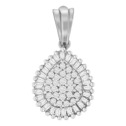 10k White Gold 0.5 CTTW Round and Baguette Cut Diamond Teardrop Pendant Necklace (J-K, I1-I2)