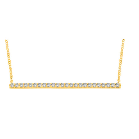 10K Yellow Gold 1/3 CTTW Round Cut Diamond Bar Pendant Necklace (G-H,SI2-I1)