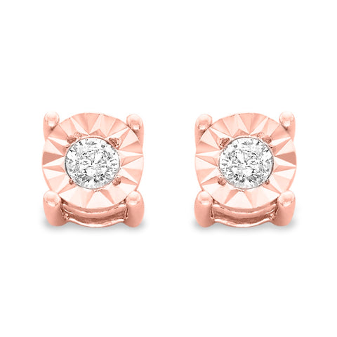 10k Rose-Gold Plated Sterling Silver .10ct. TDW Round-Cut Diamond Miracle-Plated Stud Earrings (J-K,I3)