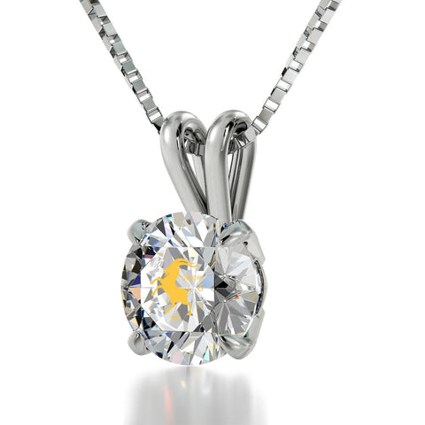 Capricorn Sign, 14k White Gold Necklace, Swarovski
