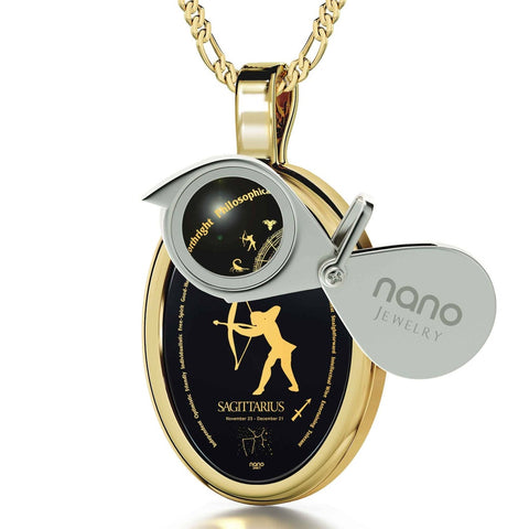 The World of Sagittarius, 14k Gold Necklace, Onyx