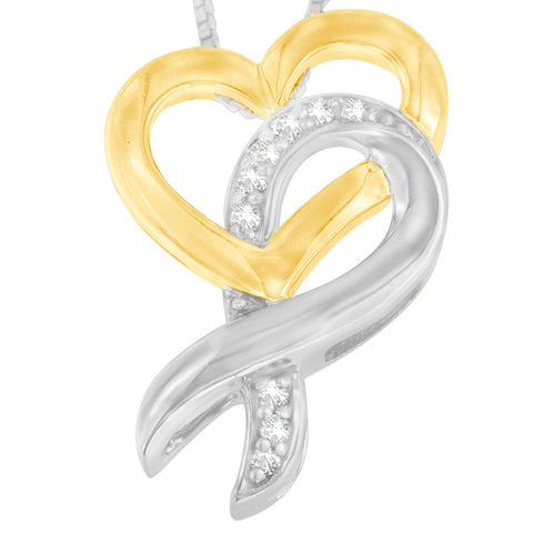 10k Yellow Gold and Sterling Silver Round Cut Diamond Necklace