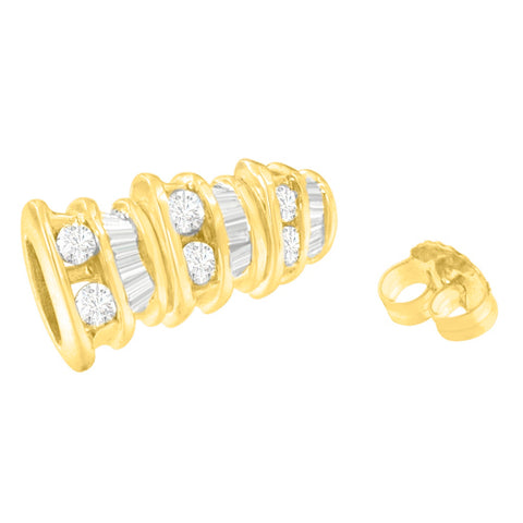 14K Yellow Gold 1ct. TDW Round and Baguette-cut Diamond Earrings (H-I,SI2-I1)