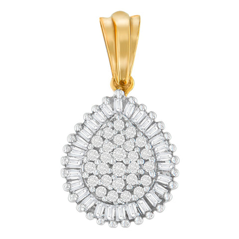 10K Yellow Gold 0.5 CTTW Round and Baguette Cut Diamond Oval Burst Pendant Necklace (J-K, I1-I2)