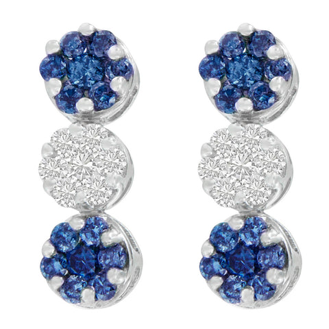 14K White Gold 2ct.TDW Round and Treated Blue-Cut Diamond Earrings (H-I,SI1-SI2)