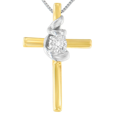 10k Two-Toned Gold 0.1 CTTW Cross Knot Diamond Pendant Necklace (H-I, SI2-I1)
