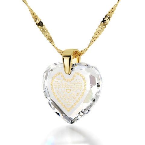 Letter to Mom, 14k Gold Necklace, Cubic Zirconia