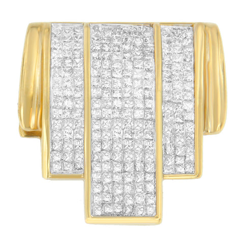 14K Yellow Gold 2 1/2 CTTW Princess Cut Diamond Waterfall Pendant Necklace (H-I, SI2-I1)